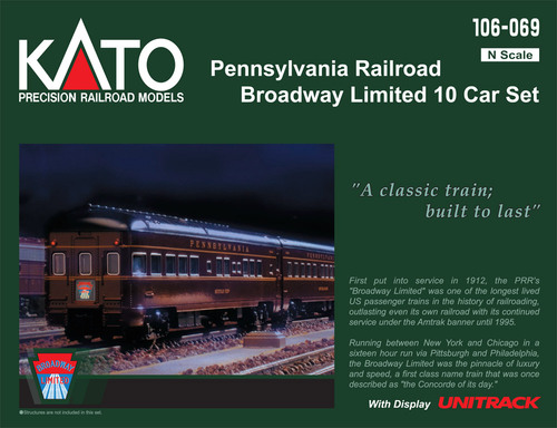 Kato N 106069-1 Pennsylvania Railroad Broadway Limited 10-Car Passenger Set with Interior Lighting Installed