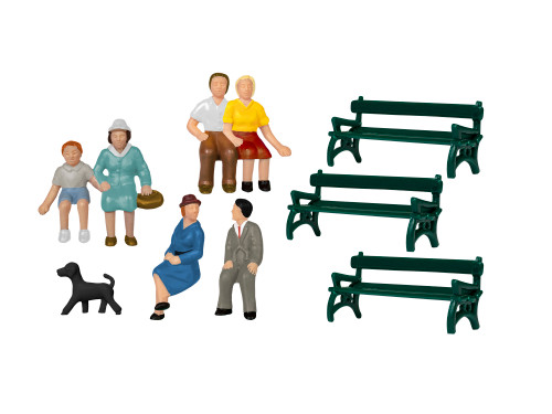 Lionel HO 1957200 Sitting Figures with Benches and Dog (10-Pack)
