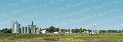 "Realistic Backgrounds 704-21 Farm Scene with Silos Scene 13"" x 38"""