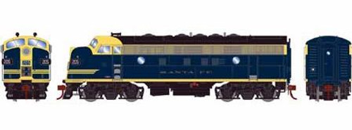 Athearn Genesis HO G12417 F7A, Atchison Topeka and Santa Fe (Cat Whiskers) #205L (DCC and Sound Equipped)