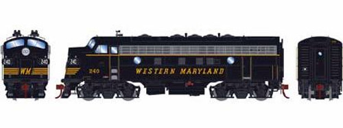 Athearn Genesis HO G12430 F7A Phase II, Western Maryland #240 (DCC and Sound Equipped)