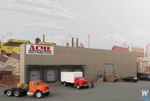 Walthers Cornerstone HO 933-4071 Modern Concrete Warehouse Background Building Kit