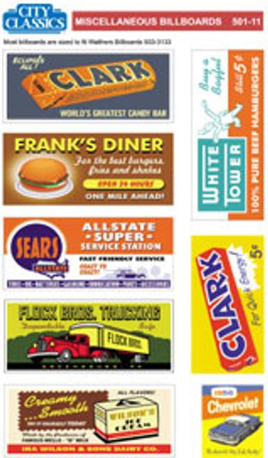 City Classics HO 501-11 Miscellaneous Billboards
