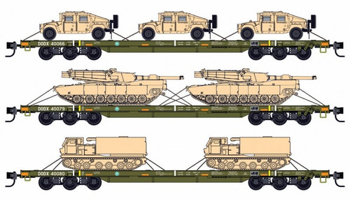 Micro-Trains N 99301811 68' Flat Car, DODX (Olive Drab with Reflectors and Military Loads) (3-Pack)