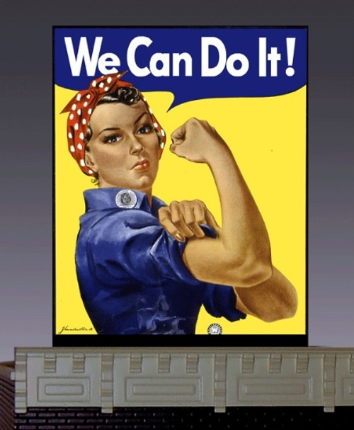 "Miller Engineering HO/N 44-3702 Small ""We Can Do It!"" Billboard, Animated Neon Style Sign Kit"