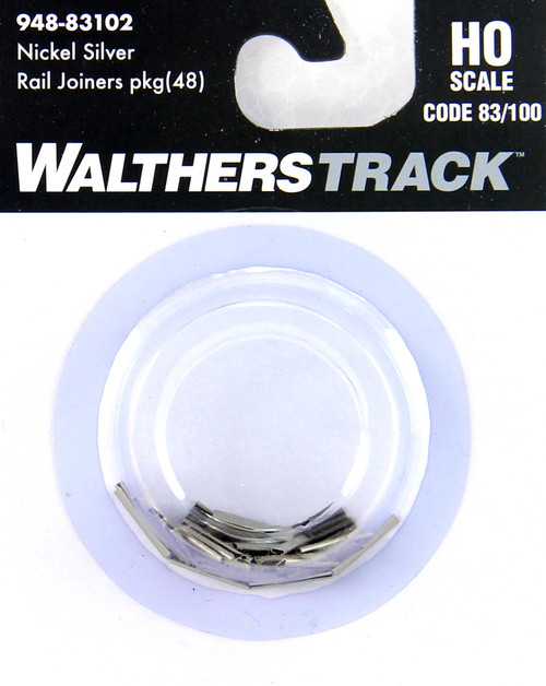 Walthers HO 948-83102 Nickel Silver Rail Joiners for Codes 83/100 Track (48)