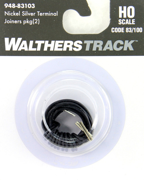 Walthers HO 948-83103 Nickel Silver Terminal Joiners for Codes 83/100 Track with Black 22G Wire (2)