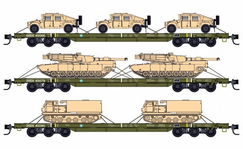 Micro-Trains N 99301812 68' Flat Car, DODX (Olive Drab without Reflectors and Military Loads) (3-Pack)