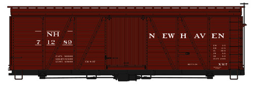 Accurail HO 1174 36' Fowler Wood Box Car Kit, New Haven #71289