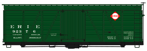 Accurail HO 1175 36' Fowler Wood Box Car Kit, Erie #92376