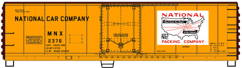Accurail HO 8527 40' Plug Door Steel Refrigerator Car Kit, National Packing Company #2376