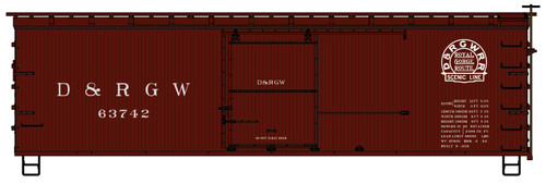 Accurail HO 1312 36' Double Sheathed Wood Box Car Kit with Metal Ends, Denver and Rio Grande Western #63742