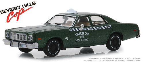 Greenlight Collectibles O 86566 1976 Plymouth Fury Checker Cab 069 WO. 3-7000, Beverly Hills Cop (1:43)