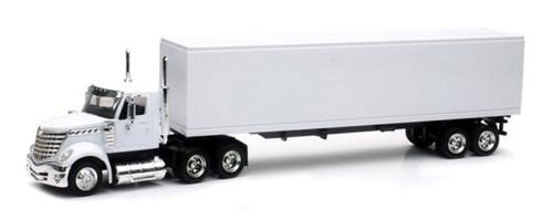 New Ray Toys O 16663 International Lonestar Long Hauler with Dry Van Trailer, White (1:43)