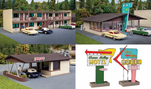 Walthers Cornerstone HO 933-3487 Vintage Motor Hotel with Office and Restaurant Kit