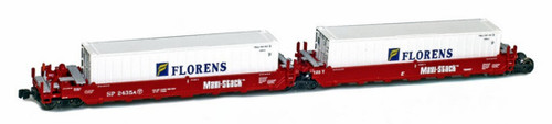American Z Line Z 906505-4B Maxi-Stack I Well Car Set with Containers, Southern Pacific #2439