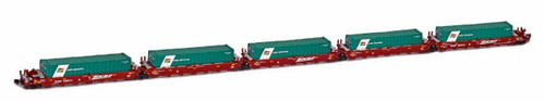 American Z Line Z 906508-3T Gunderson MAXI-I Articulated Cars with TMM Containers, Burlington Northern Santa Fe #238464