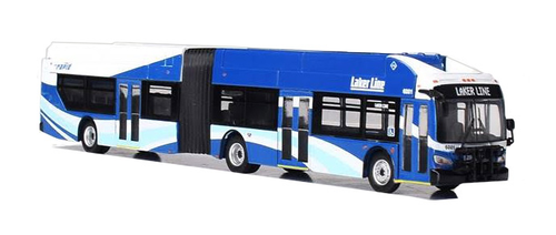 Iconic Replicas HO 87-0197 New Flyer Xcelsior XD60 Articulated Bus, Laker Line Grand Rapids