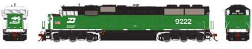 Athearn Genesis HO G75602 G2 SD60M Tri-Clops Diesel Locomotive, Burlington Northern #9222