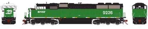 Athearn Genesis HO G75605 G2 SD60M Tri-Clops Diesel Locomotive, Burlington Northern Santa Fe #9236