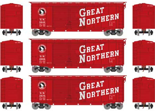 Athearn HO 16045 40' Double Door Box Cars, Great Northern (3)