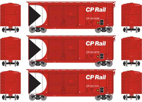 Athearn HO 16049 40' Double Door Box Cars, CP Rail (3)