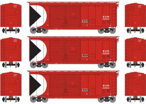Athearn HO 16053 40' Double Door Box Cars, E and N Railway (3)
