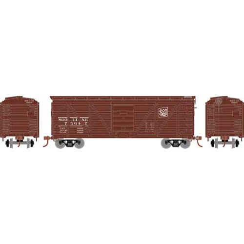 Roundhouse HO 2898 40' Ribbed Wooden Box Car, Soo Line #75647