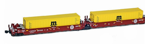 American Z Line Z 906509-2MS Maxi-I Well Car Set with 5 MSC Containers, Burlington Northern Santa Fe #237438