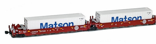American Z Line Z 906509-4MA Maxi-I Well Car Set with 5 Matson Containers, Burlington Northern Santa Fe #237545