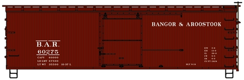 Accurail HO 1713 36' Double Sheath Wood Box Car Kit, Bangor and Aroostook #60275