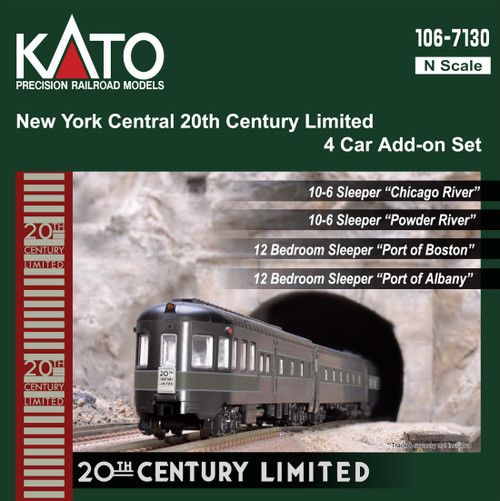 Kato N 1067130-1 20th Century Limited Add-On Passenger Car Set (Lighted), New York Central (4)