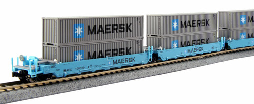 Kato N 1066198 Gunderson MAXI-I Double Stack Well Cars, Maersk #100029 (5)