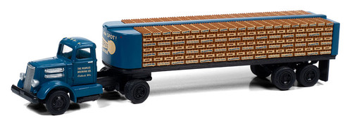 Classic Metal Works HO 31198 White WC22 with Flatbed Trailer and Bottle Load, Peoples' Beer