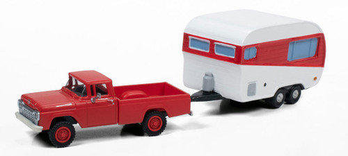 Classic Metal Works HO 40017 1960 Ford Pickup 4x4 with 1950s Camper Trailer, Monte Carlo Red