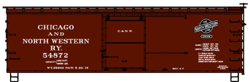 Accurail HO 12321 36' Wood Box Car Kit, Chicago and North Western #54872