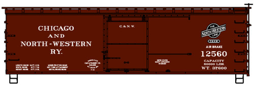 Accurail HO 12322 36' Wood Box Car Kit, Chicago and North Western #12560