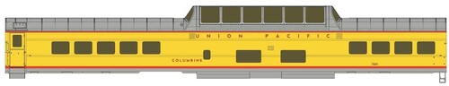 """Walthers Proto HO 920-18551 85' ACF Dome Coach with Lights, Union Pacific """"Columbine"""" #7001"""