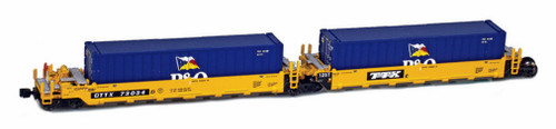 American Z Line Z 906502-1PO Gunderson MAXI-I Well Car Set with 5 Containers, DTTX #73014