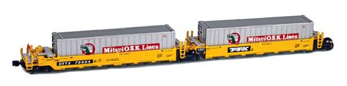 American Z Line Z 906502-2MI Gunderson MAXI-I Well Car Set with 5 Containers, DTTX #73019