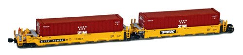 American Z Line Z 906502-3ZI Gunderson MAXI-I Well Car Set with 5 Containers, DTTX #73026
