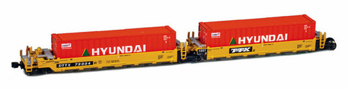 American Z Line Z 906502-5HY Gunderson MAXI-I Well Car Set with 5 Containers, DTTX #73034