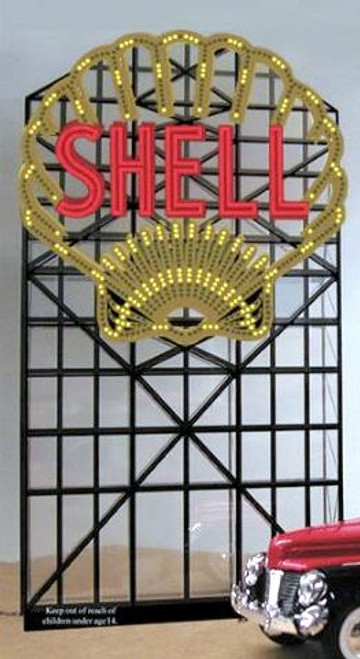 Miller Engineering HO/O 88-3801 Large Shell Roadside Billboard, Animated Neon Style Sign Kit