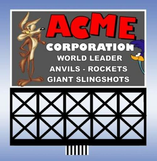Miller Engineering HO/O 88-3751 Large Acme Billboard, Animated Neon Style Sign Kit