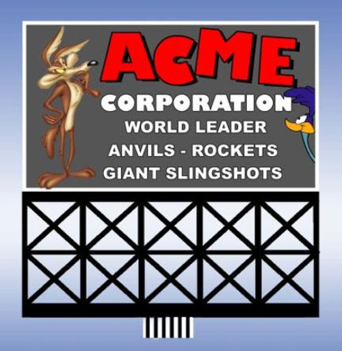 Miller Engineering HO/N 44-3752 Small Acme Billboard, Animated Neon Style Sign Kit