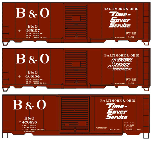 Accurail HO 8130 40' Steel Box Car Kits, Baltimore and Ohio (3-Pack)
