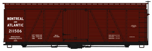 Accurail HO 1178 36' Fowler Wood Box Car Kit, Montreal and Atlantic #211506