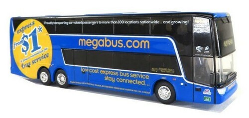Iconic Replicas HO 87-0227 Van Hool Double Decker Bus, MegaBus