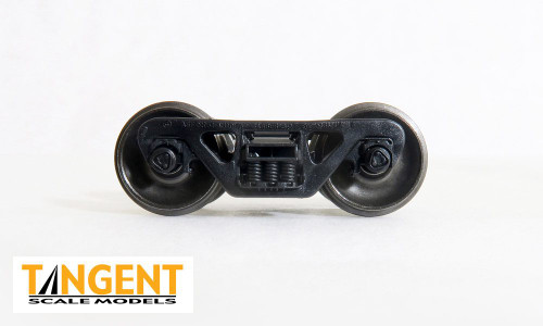 Tangent Scale Models HO 401 100-Ton Barber S-2 Trucks with Spinning Timken Bearings and Blackened Semi-Scale Tread (2)