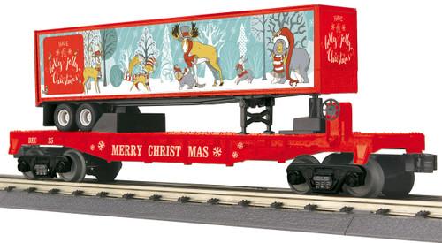 MTH RailKing O 30-76820 Flat Car with 40' Trailer, Christmas